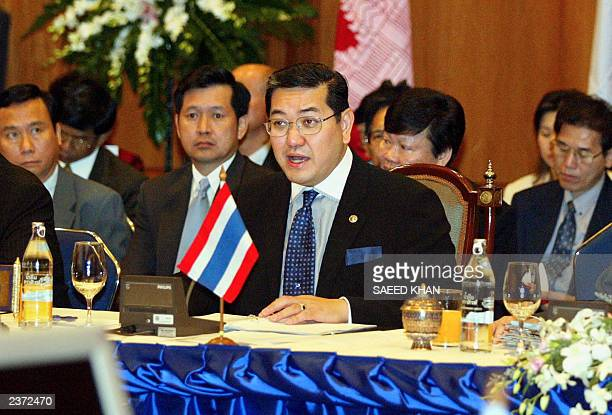 Thai Foreign Minister Surakiart Sathirathai speaks at the opening session of a meeting of foreign ministers on Economic Cooperation Strategy at the...