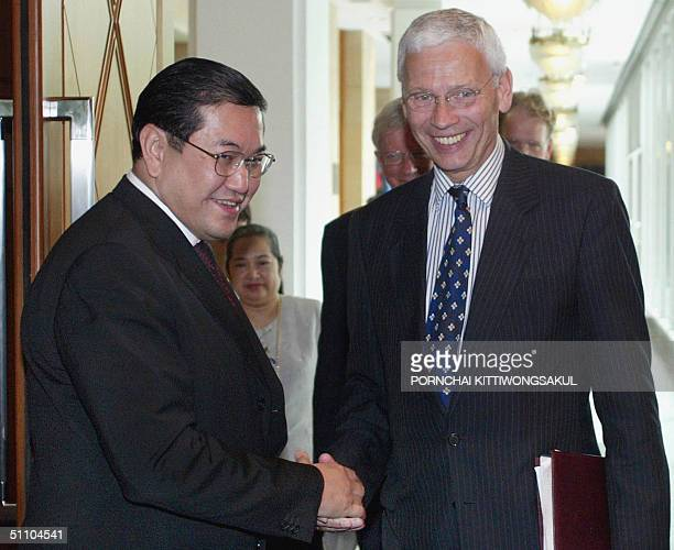 Thai Foreign Minister Surakiart Sathirathai welcomes European Union special envoy and former Dutch foreign minister Hans van den Broek at the foreign...