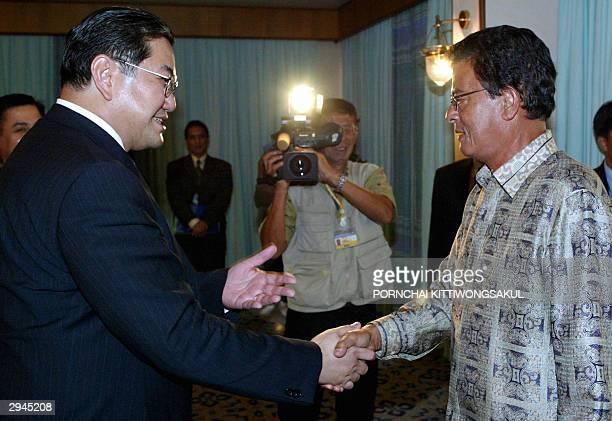 Thai Foreign Minister Surakiart Sathirathai welcomes United Nations Envoy to Myanmar Razali Ismail during the BIMSTEC summit in Phuket island south...