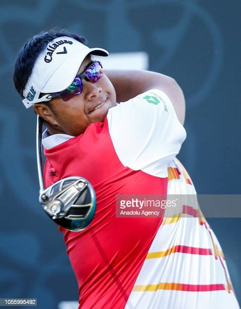 Thai golf player Kiradech Aphibarnrat swings a golf club on the first day of Turkish Airlines Antalya Open 2018 on November 01 2018 at Belek Tourism...