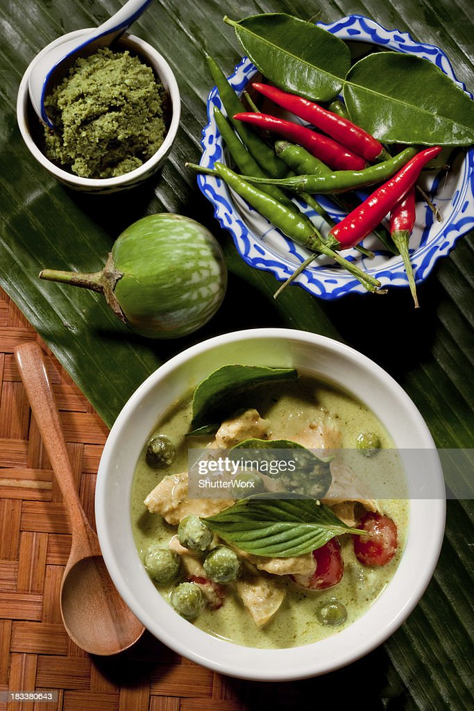 Thai Green Curry With Chicken : Stock Photo