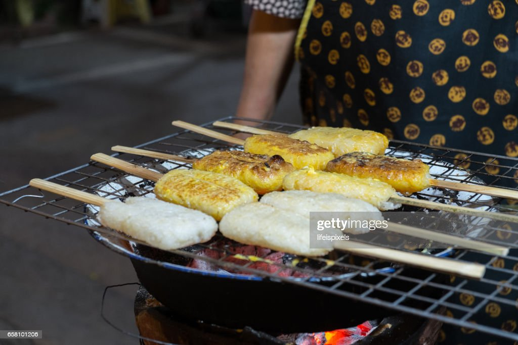Thai Grilled Sticky Rice (Khao Jee) : Stock Photo