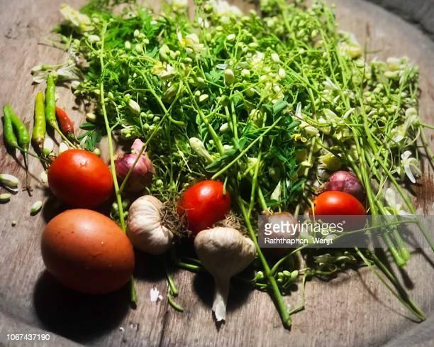 . thai herb dish. - moringa tree stock photos and pictures