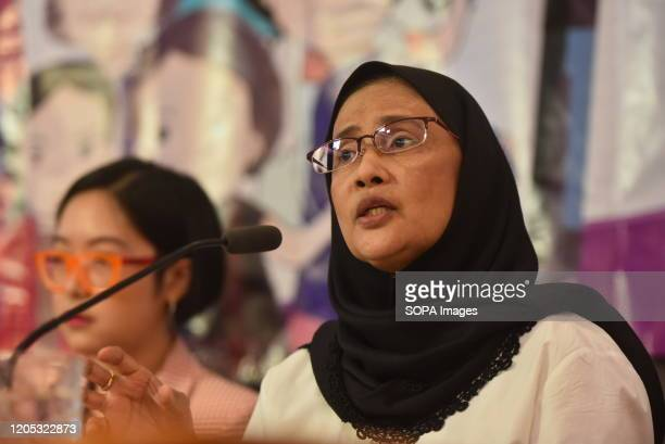 Thai human rights activist and former member of the National Human Rights Commission Angkhana Neelapaijit speaks during a press conference of 2020...