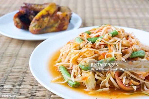 Thai Issan Food, Papaya Salad and chicken.