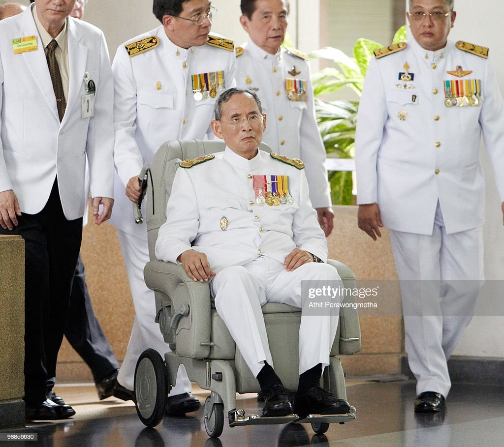 Thai King Bhumibol Adulyadej arrives at Siriraj Hospital after he marks the 60th anniversary of his coronation at the Grand Palace on May 5, 2010 in Bangkok, Thailand. Thailand's revered king, Bhumibol Adulyadej left hospital on Wednesday for the first time since February after being admitted for treatment of a respiratory condition back in September 2009. Dressed in the customary white royal uniform the King travelling to the Grand Palace for celebrations to mark the 60th anniversary of his coronation.