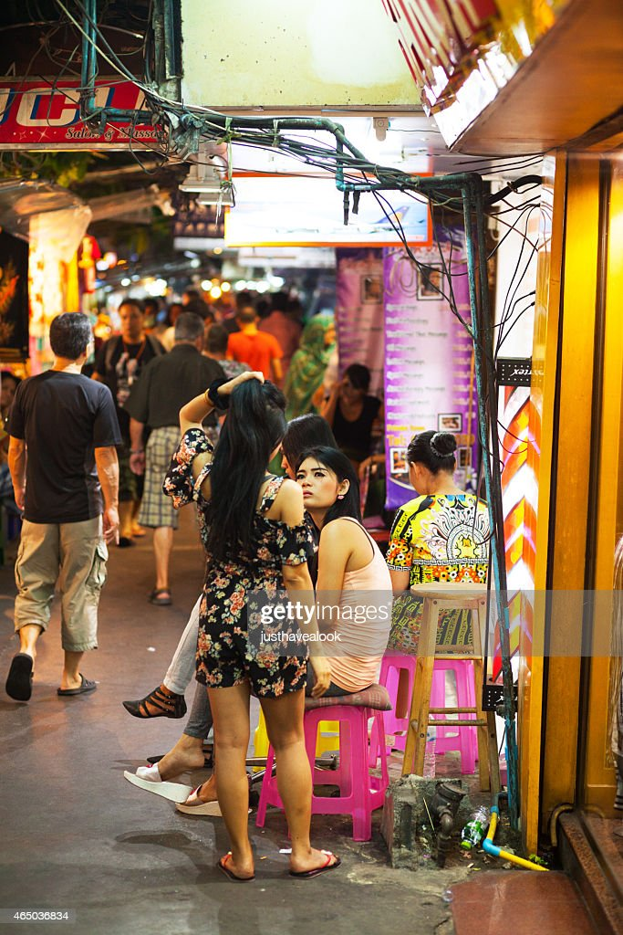 Thai ladyboys at massage shop : Stock Photo
