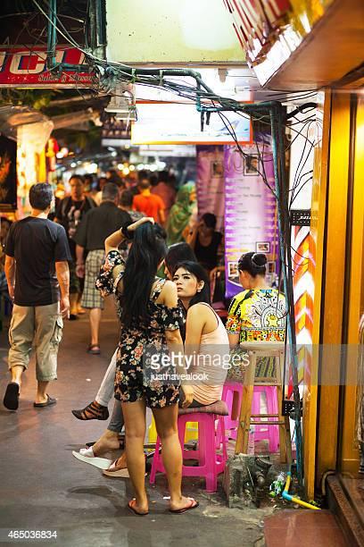 thai ladyboys at massage shop - ladyboys of bangkok stock photos and pictures