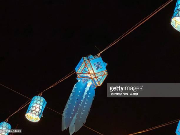 thai lanna lantern at night. - lanna stock pictures, royalty-free photos & images
