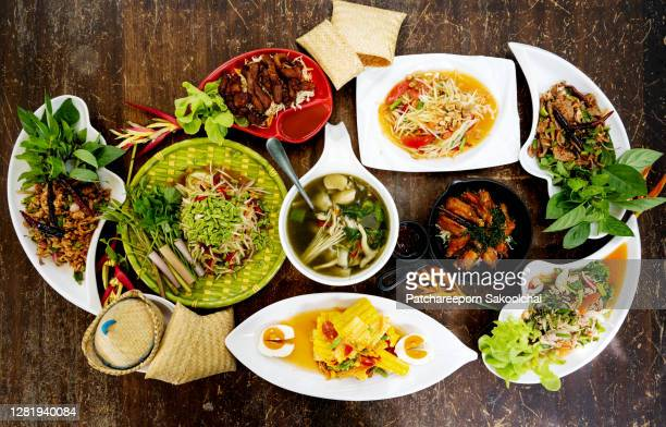 thai local food, som tam - southeast stock pictures, royalty-free photos & images
