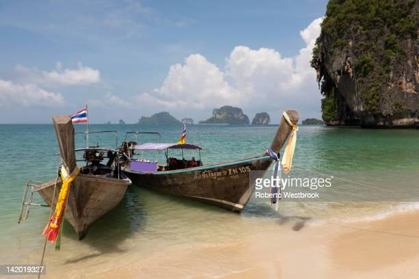 Thai long tail boats on beach