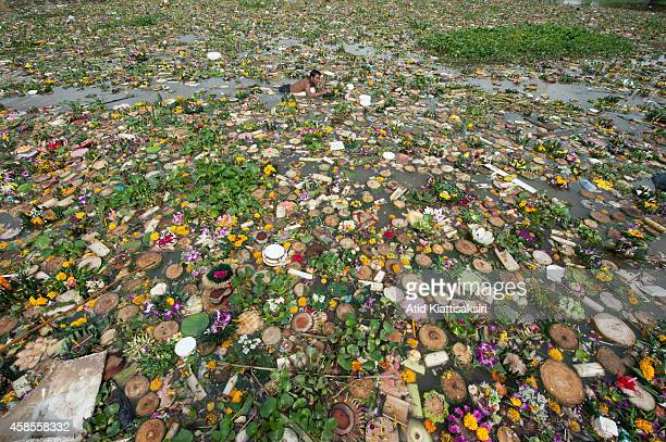 Thai man swims in the Ping river amidst a hundred tons of krathongs to find valuables during the Loy Krathong festival in Chiang Mai. People place...