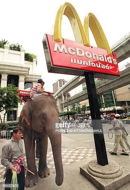 Thai manhouts walk their elephant in Bangkok downtown 05 August 1999 Although the Bangkok Metropolitan Administration has banned mahouts to walk...