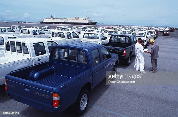 CHABANG CHONBURI THAILAND Thai manufactured Ford pickup trucks sit on the docks at Laem Chabang port on the Eastern Seaboard awaiting loading on the...