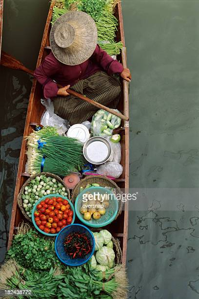 thai market - floating market stock photos and pictures
