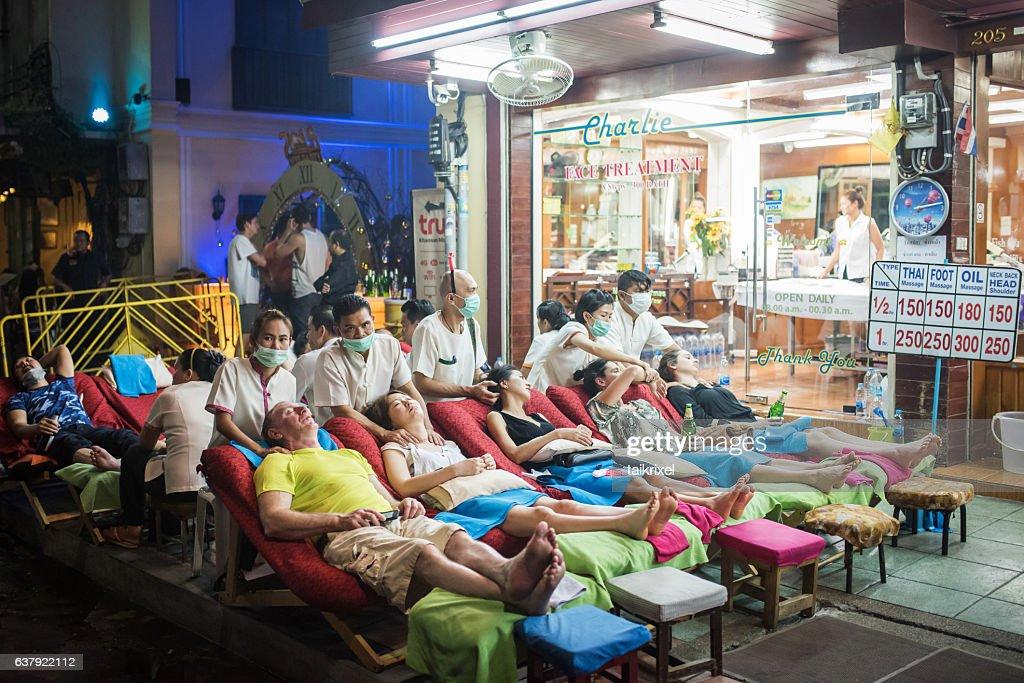 Thai massage at Khaosan Road : Stock Photo