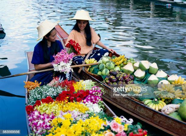 Thai Merchants Selling on Floating Market