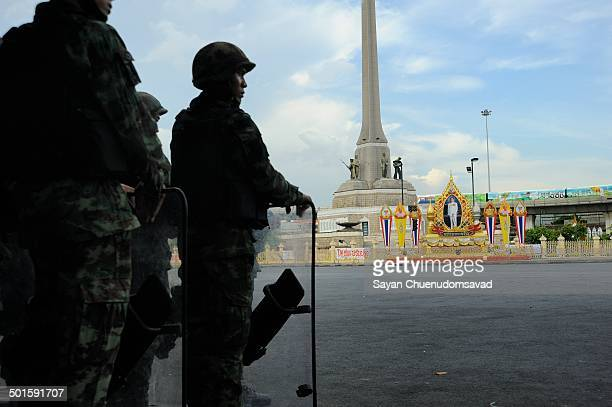 CONTENT] Thai military seal off the site of daily anticoup protests at Victory Monument Bangkok Thailand to block another rally on 29 May 2014