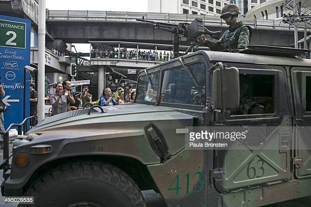 Thai military secure an area outside a shopping mall preventing anticoup demonstrators from gathering on June 1 2014 in Bangkok Thailand Thai...