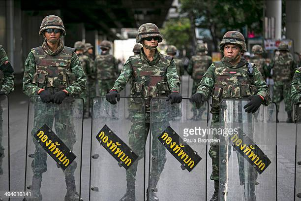 Thai military take over the streets surrounding the Victory Monument that were blocked from all traffic in order to stop the anticoup protesters on...