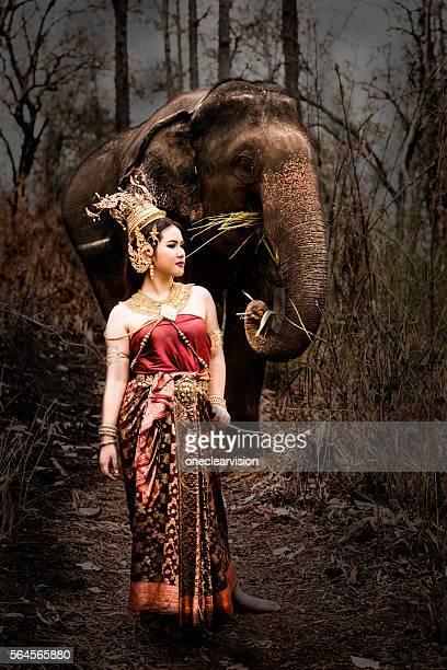 Thai Model and Elephant