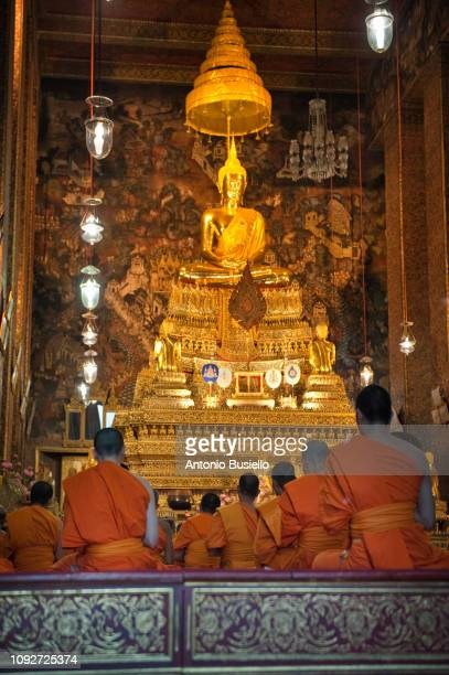 thai monk praying. - religious event stock pictures, royalty-free photos & images