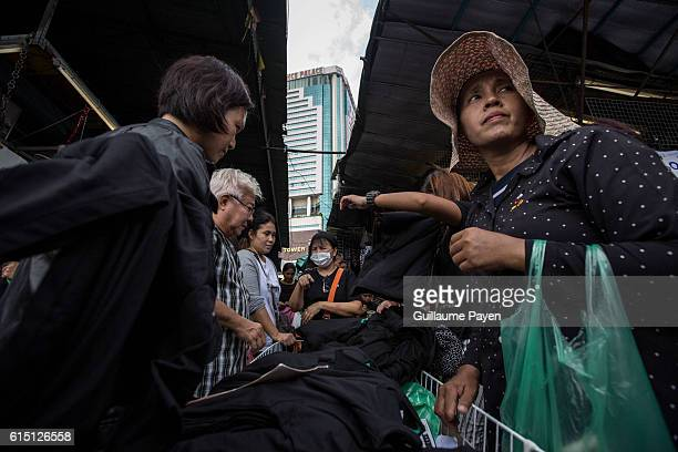 Thai mourners buy black clothes at Bobae Market after Thai King's death as government warns against price gouging in Bangkok, Thailand on October 17,...