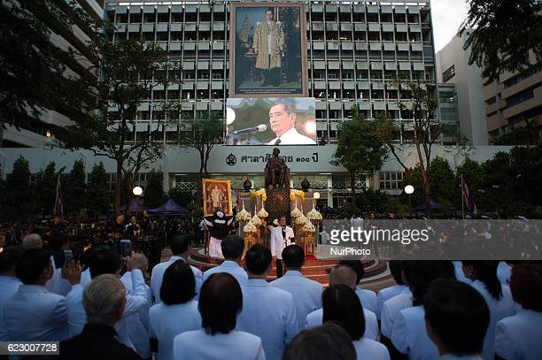Thai mourners of late Thai King Bhumibol Adulyadej at Siriraj Hospital in Bangkok, Thailand on November 13, 2016. Thousands of Thai mourners took...