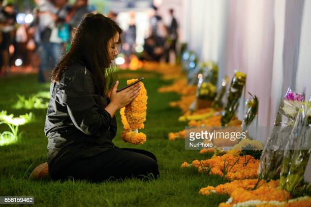 Thai mourners pays her respect to late Thai King Bhumibol Adulyadej at Grand Palace in Bangkok Thailand 05 October 2017