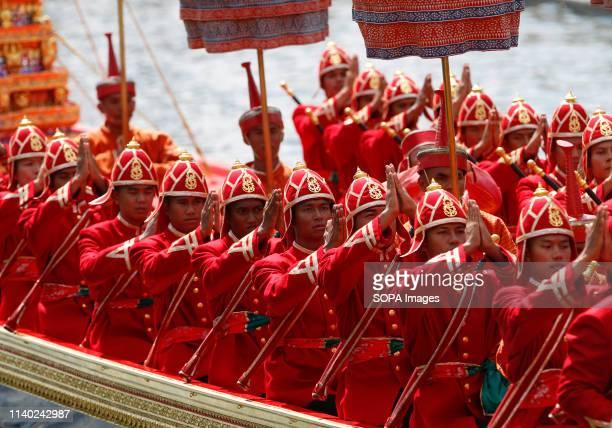 Thai oarsmen seen praying on a royal barge during the processions rehearsal ahead of the royal coronation of Thailand's King Maha Vajiralongkorn...
