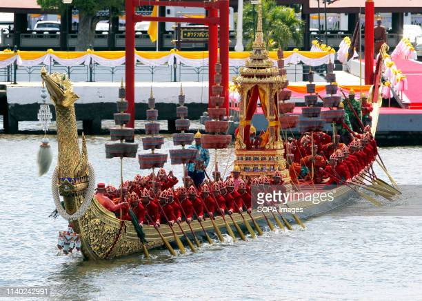 Thai oarsmen seen rowing a royal barge on the Chao Phraya River during the processions rehearsal ahead of the royal coronation of Thailand's King...