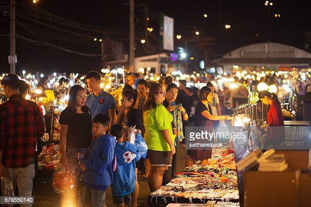 Thai people and families on night market Liab Duan