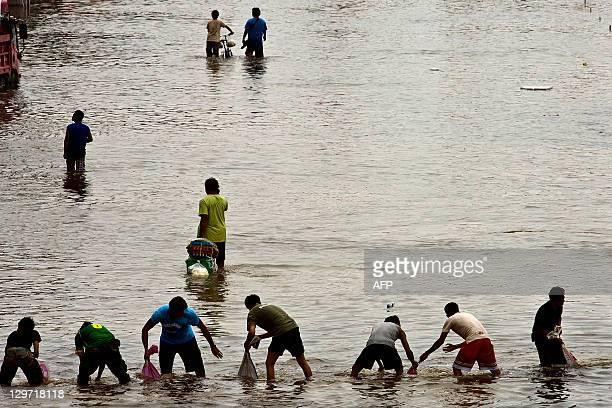Thai people pass sandbags to each other to reinforce a barrier in the inundated district of Rangsit northern Bangkok on October 20 2011 Thailand's...