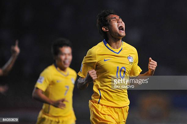 Thai player Teerasil Dangda celebrates his goal during the AFF Suzuki Cup football match against Indonesia in Jakarta on December 16, 2008. Thailand...