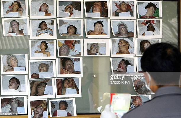 Thai police officer checks the passport of a Western tourist while comparing it with pictures of unidentified dead victims pasted on the window panel...