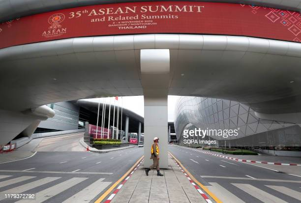 Thai policeman patrols a venue hosting the 35th ASEAN Summit in Nonthaburi Thailand