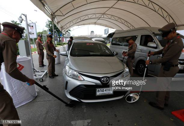 Thai policemen perform security checks ahead of the 35th ASEAN Summit in Nonthaburi province Thailand