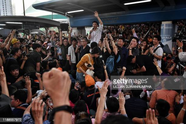 Thai politician and leader of the opposition Future Forward Party Thanathorn Juangroongruangkit speaks to supporters at a rally in Bangkok on...