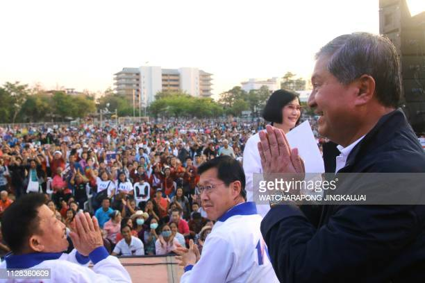 Thai politician Chalerm Yoobumrung greets the crowd during a Pheu Thai party campaign rally in Chiang Mai on March 2 ahead of the March 24 general...