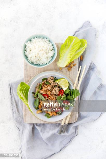 thai pork larb with rice - thai food stock pictures, royalty-free photos & images