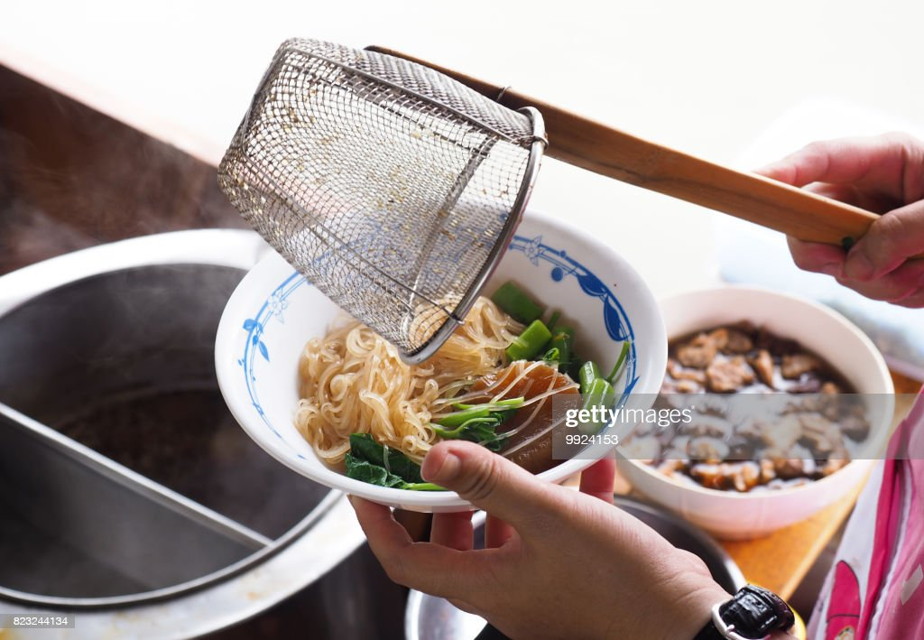 Thai Pork Noodle On Boat In Floating Market Isolated White