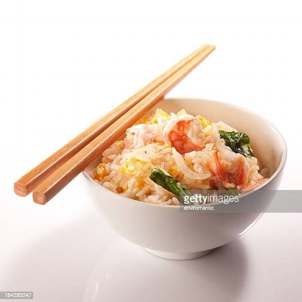 Thai prawn fried rice and chopsticks.