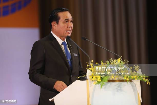 Thai Prime Minister Prayut Chanocha addresses during the SportAccord Opening Ceremony at the Royal Thai Navy Convention Hall on April 17 2018 in...