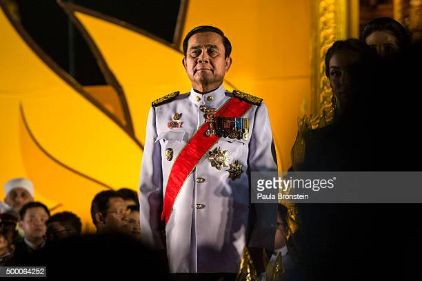 Thai Prime Minister Prayut Chanocha is seen during celebrations for Thailand's King Bhumibol Adulyadej on his 88th birthday in Bangkok on December 5...