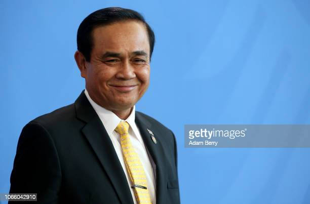 Thai Prime Minister Prayut Chanocha speaks during a press statement given with German Chancelor Angela Merkel at the German federal Chancellery on...