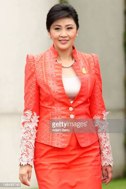 Thai Prime Minister Yingluck Shinawatra attends a military ceremony upon her arrival at the German federal chancellory on July 18, 2012 in Berlin,...