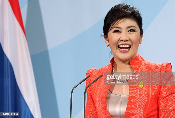 Thai Prime Minister Yingluck Shinawatra reacts during a news conference at the German federal chancellory on July 18, 2012 in Berlin, Germany....
