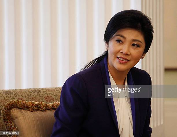 Thai Prime Minister Yingluck Shinawatra smiles during her meeting with Hong Kong Chief Executive Leung Chunying in Hong Kong February 26 2013...