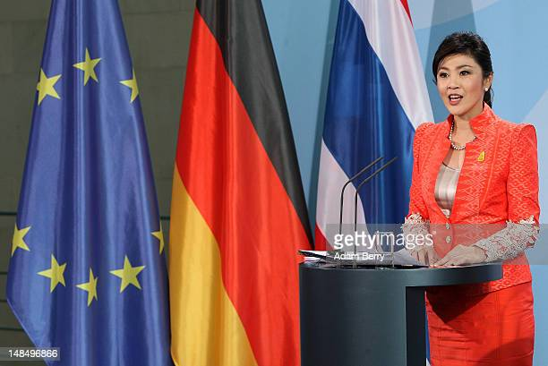 Thai Prime Minister Yingluck Shinawatra speaks during a news conference at the German federal chancellory on July 18, 2012 in Berlin, Germany....