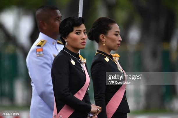 Thai Princess Bajrakitiyabha and Princess Sirivannavari Nariratana take part in the funeral procession for the late Thai king Bhumibol Adulyadej in...